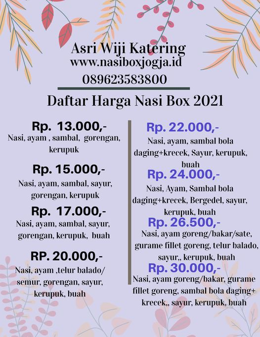 daftar harga nasi box jogja terbaru